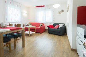 Modernes Appartement mit Essecke und Sofa