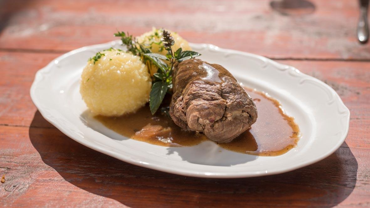 Roulade mit Kloß gut fränkisch essen Nähe Ansbach